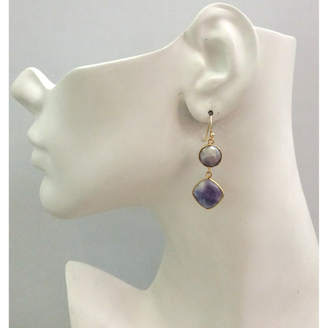 Blue Sapphire Double Drop Earrings