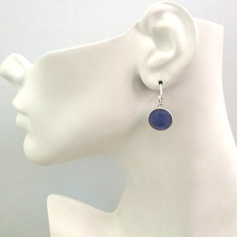 Blue Sapphire Single Drop Hoop Earrings (Stud Closure)