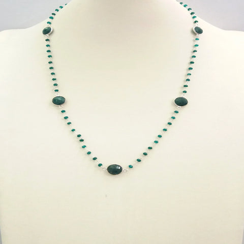 Emerald and Green Agate Jeweled Chain Necklace