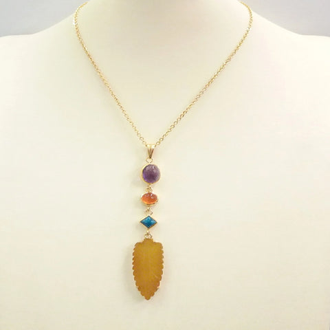 Amethyst with Carnelian, Apatite and Yellow Quartz Terra Firma Pendant