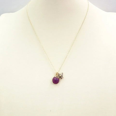 Purple Agate with Bee Single Pendant