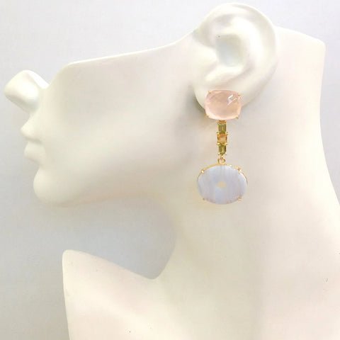 Rose Quartz Stud with Peridot, Citrine and Blue Lace Agate Detachable Twinset Earrings