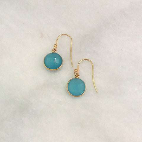 Blue Chalcedony Single Drop Hook Earrings