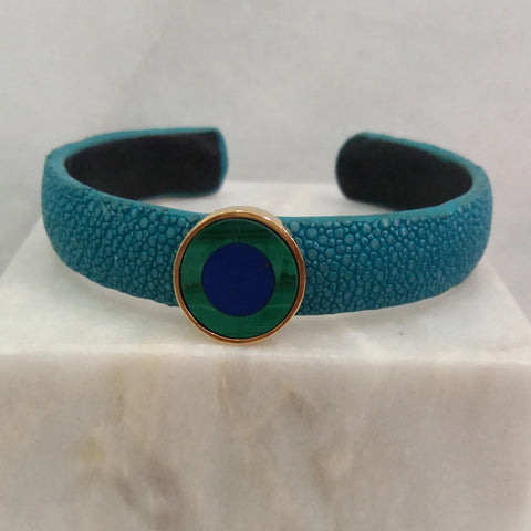 Stingray Cuffs with Gemstones Inlay Accents (10mm width)