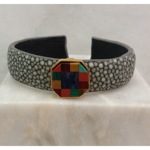 Stingray Cuffs with Gemstones Inlay Accents (15mm width)