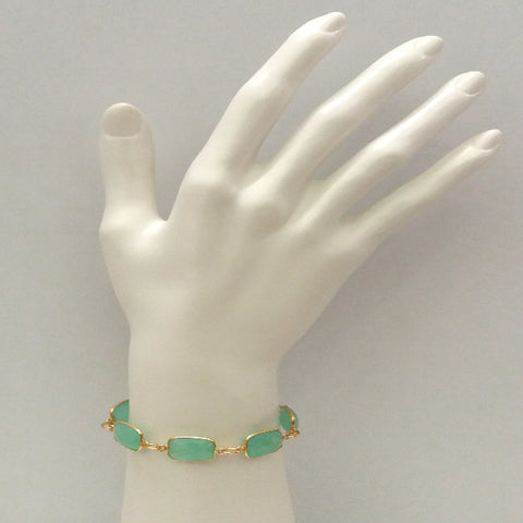 Mint Green Chalcedony Jeweled Chain Bracelet