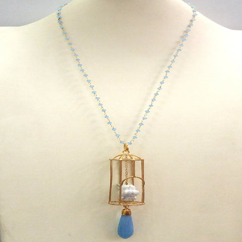"Blue Chalcedony Chain with Carved Howlite Owl on Cage and Blue Jade ""Gazebo"" Terra Firma Pendant"