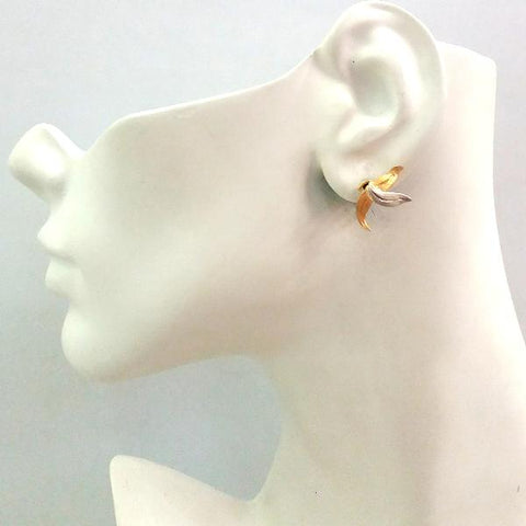 Two-tone Leaf Stud with Citrine ,Peridot, Leaf and Branches Detachable Twinset Earrings