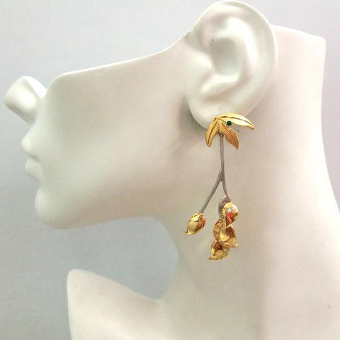 Leaf and Green Agate Stud with Citrine ,Peridot, Leaf and Branches Detachable Twinset Earrings