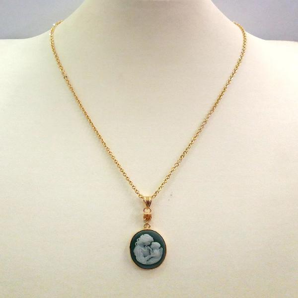 Green Agate and White Agate Mother and Child with Citrine Cameo Necklace