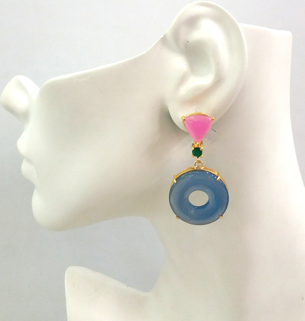 Pink Agate Stud with Green Agate and Blue Agate Detachble Twinset Earrings