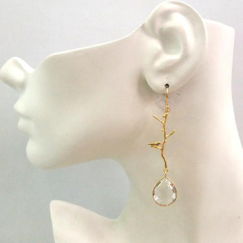 Ibon on Branches with Clear Quartz Earrings