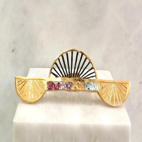 """Abanico"" with Rhodolite Garnet, Amethyst, Citrine and Blue Topaz Cocktail Ring (3 Finger Ring)"