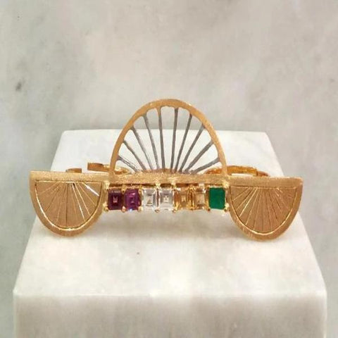 """Abanico"" with Rhodolite Garnet, White Topaz, Citrine and Green Agate Cocktail Ring (3 Finger Ring)"