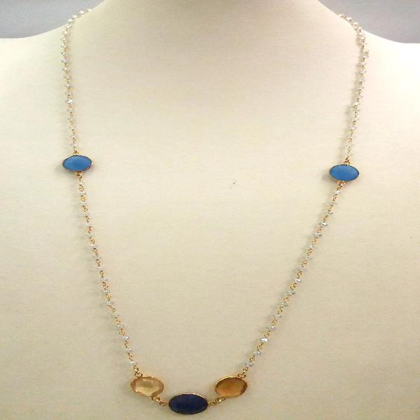 Clear Quartz Chain with Blue Agate, Citrine and Blue Sapphire Jeweled Necklace