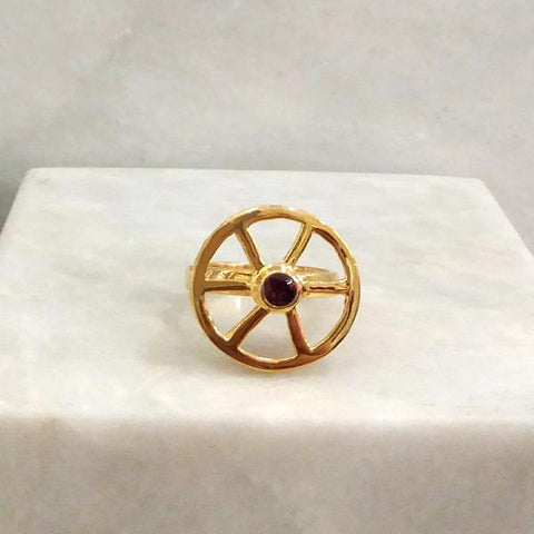 Kalamansi Slice Cocktail Ring with Pink Garnet