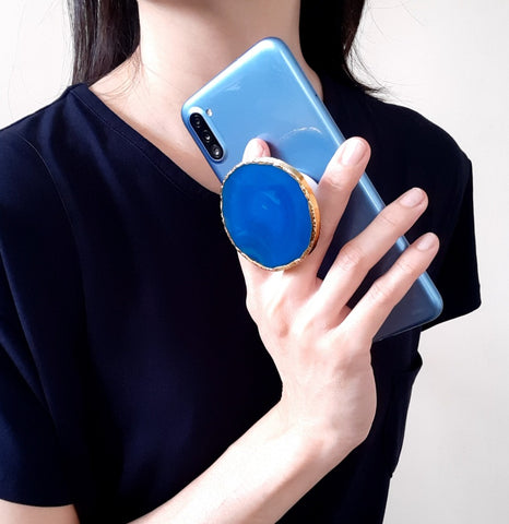 Blue Agate Geode Phone Grip