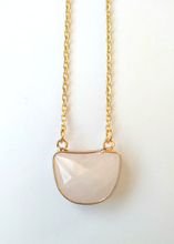 Rose Quartz Half Moon Single Stone Gem Drop Pendant