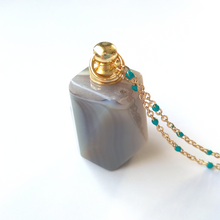 Light Gray Agate Hexagon Essential Oil Bottle Pendant