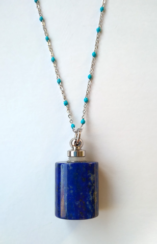 Lapis Lazuli Essential Oil Square Bottle Pendant