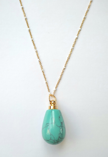 Turquoise Teardrop Essential Oil Bottle Pendant Gold