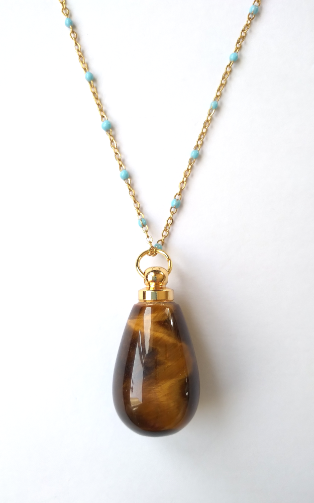 Tiger's Eye Teardrop Essential Oil Bottle Pendant Gold