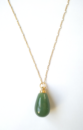 Green Jade Teardrop Essential Oil Bottle Pendant Gold