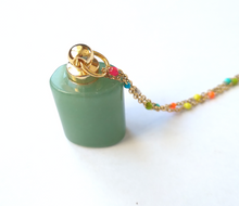 Green Jade Square Essential Oil Bottle Pendant