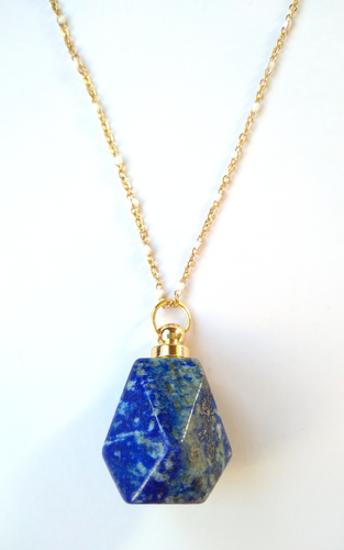 Lapis Lazuli Faceted Hexagon Essential Oil Bottle Pendant