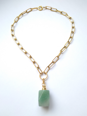 Megan Necklace with Green Jade Essential Oil Bottle