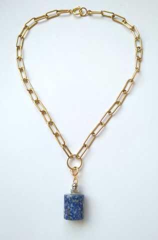 Megan Necklace with Lapis Lazuli Essential Oil Bottle