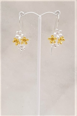 4 Flower Cluster 2 Tone Earrings