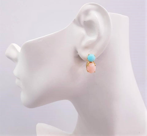 Amazonite & Pink Opal Separates Earrings