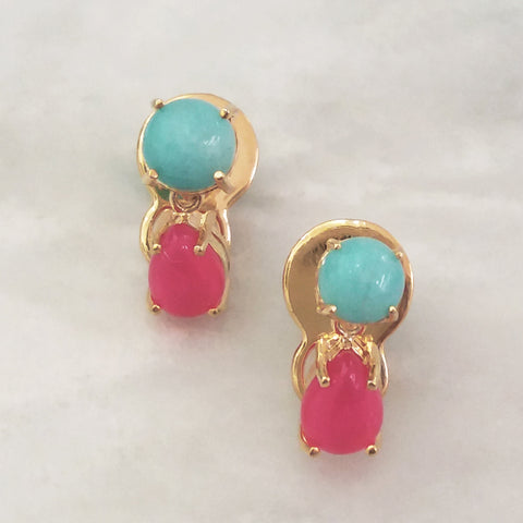 Amazonite & Hot Pink Agte Separates Earrings
