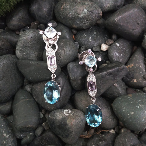 Amethyst & Blue Topaz stud with White Topaz, Amethyst & Blue Topaz 'ART DECO' Twinset Earrings