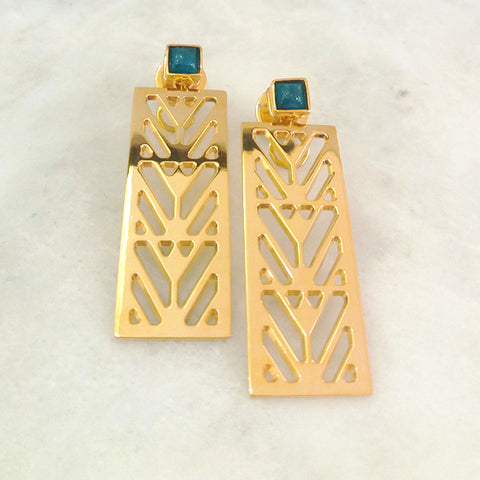 Apatite Square Stud with Palma Design Earrings