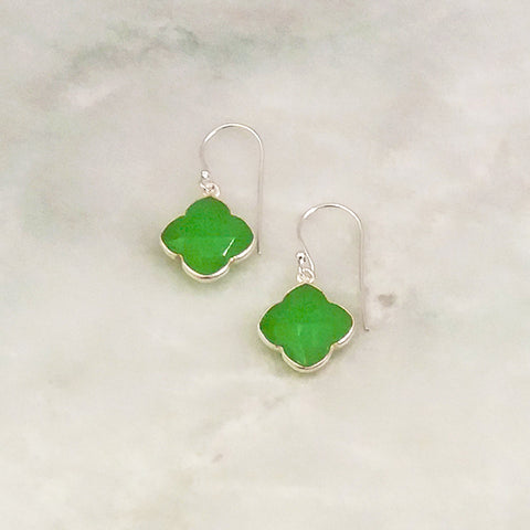 Apple Green Chalcedony Clover Drops Sterling Silver Earrings