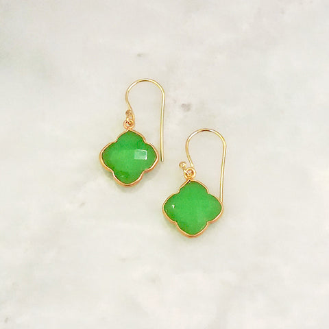 Apple Green Chalcedony Clover Drops Earings