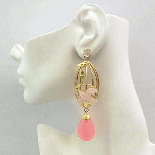 Aviary Twinset Earrings with Moonstones, Carved Rose Quartz Swallow, Green Agates & Pink Quartz Drop Twinset Earrings