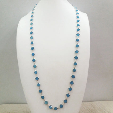Blue Agate Jeweled Chain Necklace
