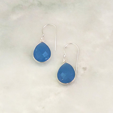 Blue Agate Single Drop Hook Earrings