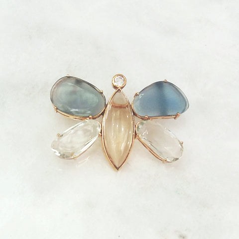 Blue Agate, Green Amethyst, White Zircon & Ctrine Butterfly Brooch Pin
