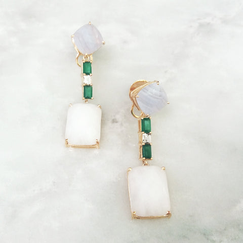 Blue Lace Agate Studs with White Topaz, Green Agates & White Agate Dangle Twinset Earrings