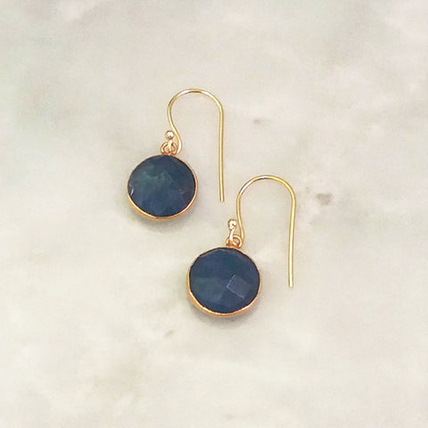 Blue Sapphire Single Drop Hook Earrings
