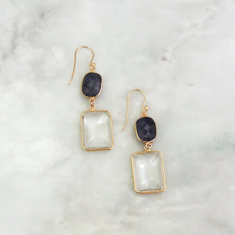 Blue Sapphire and Clear Quartz Double Drop Earrings