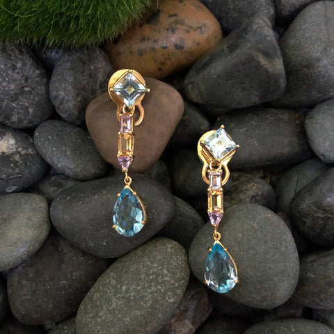 Blue Topaz stud with Amethyst, Citrine & Blue Topaz Twinset Earrings