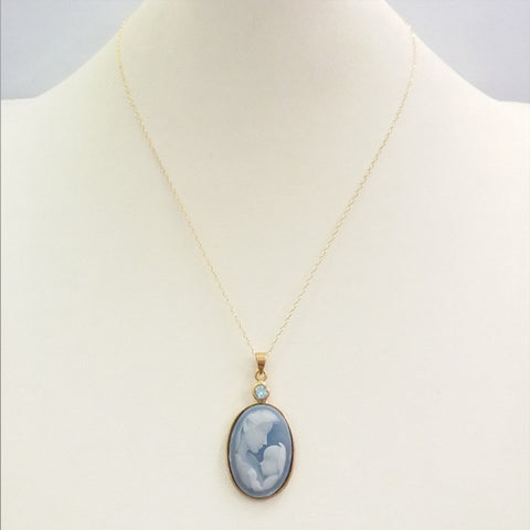 Blue Topaz with Blue and White Agate Mother and Child Cameo Necklace