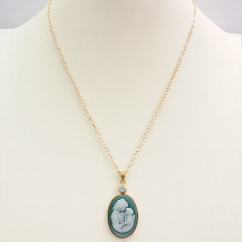 Blue Topaz with Green and White Agate Mother and Child Cameo Necklace