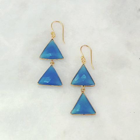 Blue Agate Double Drop Earrings