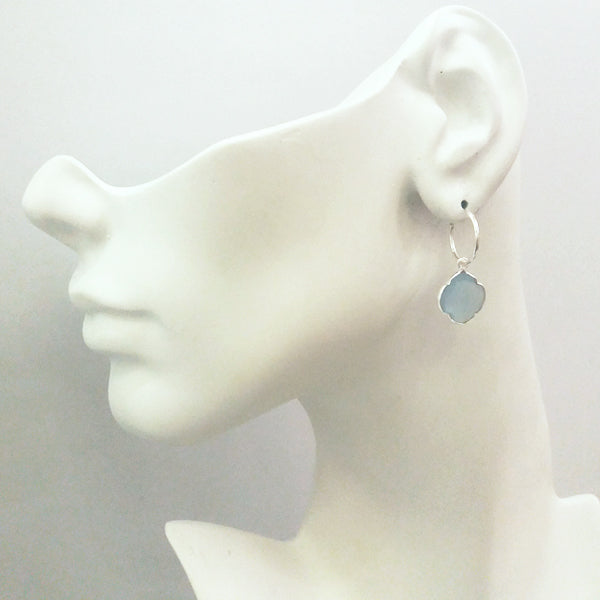Blue Lace Chalcedony Loop Single Drop Earrings